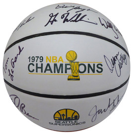 1978-79 NBA Champions Seattle Supersonics Autographed Basketball With 8 Signatures Including Fred Brown & Jack Sikma MCS Holo #50265