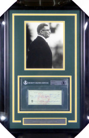 Vince Lombardi Autographed Framed 8x10 Photo With Check Green Bay Packers Beckett BAS #10845296