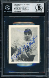 Phil Rizzuto Autographed 1948 Bowman Reprint Rookie Card #8 New York Yankees Beckett BAS #11076614