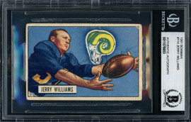 Jerry Williams Autographed 1951 Bowman Rookie Card #114 Los Angeles Rams Beckett BAS #11076653