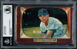 Ted Gray Autographed 1955 Bowman Card #86 Chicago White Sox Beckett BAS #11077277