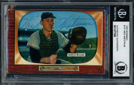 Wes Westrum Autographed 1955 Bowman Card #141 New York Giants Beckett BAS #11077290