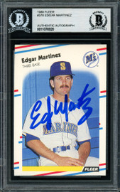 Edgar Martinez Autographed 1988 Fleer Rookie Card #378 Seattle Mariners Beckett BAS Stock #147098