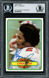 Lynn Cain Autographed 1980 Topps Rookie Card #517 Atlanta Falcons Beckett BAS #10447833