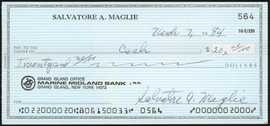 Sal Maglie Autographed 3x6 Check Brooklyn Dodgers, New York Yankees SKU #147865