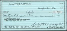 Sal Maglie Autographed 3x6 Check Brooklyn Dodgers, New York Yankees SKU #147867