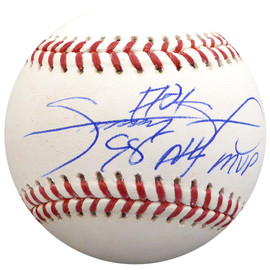 "Sammy Sosa Autographed Official MLB Baseball Chicago Cubs ""98 NL MVP"" Beckett BAS Stock #148621"