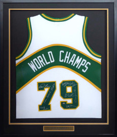 1978-79 NBA Champions Seattle Supersonics Multi Signed Autographed Framed White Jersey With 9 Signatures Including Lenny Wilkens, Fred Brown & Gus Williams MCS Holo Stock #149144