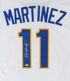 Seattle Mariners Edgar Martinez Autographed White Majestic Cool Base Cooperstown Throwback Jersey Size S MCS Holo Stock #149523