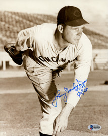 """Johnny Vander Meer Autographed 8x10 Photo Back To Back No Hitters """"6/11/38 & 6/15/38"""" Beckett BAS Stock #149535"""