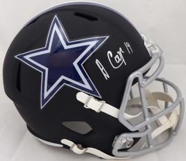 Amari Cooper Autographed Dallas Cowboys Matte Black Full Size Speed Replica Helmet JSA #WPP301497