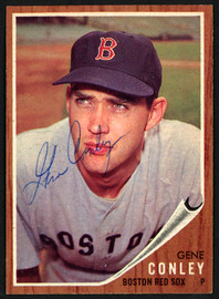 Gene Conley Autographed 1962 Topps Card #187 Boston Red Sox SKU #149666