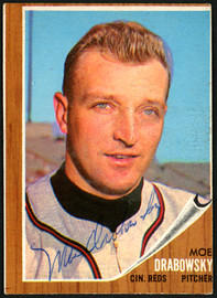 Moe Drabowsky Autographed 1962 Topps Card #331 Cincinnati Reds SKU #149696