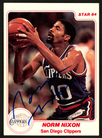 Norm Nixon Autographed 1984 Star Card #129 San Diego Clippers SKU #149768