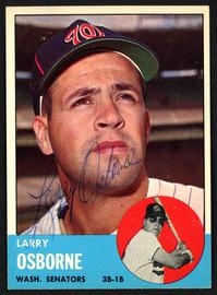 Larry Osborne Autographed 1963 Topps Card #514 Washington Senators SKU #149873