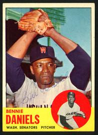 Bennie Daniels Autographed 1963 Topps Card #497 Washington Senators SKU #149874