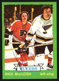 Rick MacLeish Autographed 1973-74 Topps Card #135 Philadelphia Flyers SKU #149985