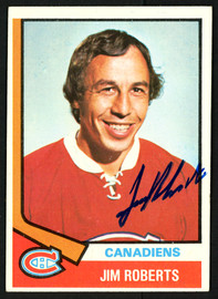 Jim Roberts Autographed 1974-75 Topps Card #78 Montreal Canadiens SKU #150080