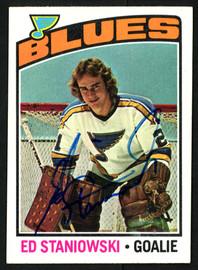 Ed Staniowski Autographed 1976-77 Topps Rookie Card #104 St. Louis Blues SKU #150182
