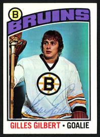 Gilles Gilbert Autographed 1976-77 Topps Card #255 Boston Bruins SKU #150199