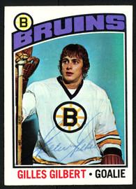 Gilles Gilbert Autographed 1976-77 Topps Card #255 Boston Bruins SKU #150200