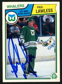 Paul Lawless Autographed 1983-84 O-Pee-Chee Rookie Card #141 Hartford Whalers SKU #150228