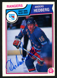 Anders Hedberg Autographed 1983-84 O-Pee-Chee Card #245 New York Rangers SKU #150236