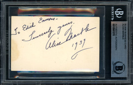 """Alice Marble Autographed 2x3.5 Business Card 1939 Wimbledon """"To Edith"""" Beckett BAS #10541076"""