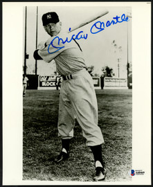 Mickey Mantle Autographed 8x10 Photo New York Yankees 1951 Rookie Year Jersey #6 Beckett BAS #A60469