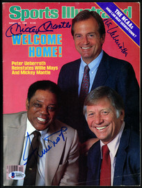 Mickey Mantle, Willie Mays & Peter Ueberroth Autographed Sports Illustrated Magazine No Label Beckett BAS #A60527