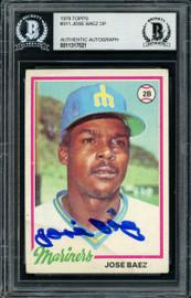 Jose Baez Autographed 1978 Topps Rookie Card #311 Seattle Mariners Beckett BAS #11317521