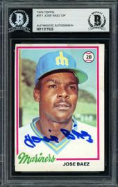 Jose Baez Autographed 1978 Topps Rookie Card #311 Seattle Mariners Beckett BAS #11317523