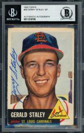 Gerry Staley Autographed 1953 Topps Card #56 St. Louis Cardinals Beckett BAS #11318705
