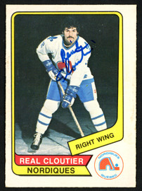 Real Cloutier Autographed 1976-77 WHA O-Pee-Chee Card #76 Quebec Nordiques SKU #151310