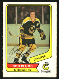Ron Plumb Autographed 1976-77 WHA O-Pee-Chee Card #94 Cincinnati Stingers SKU #151320