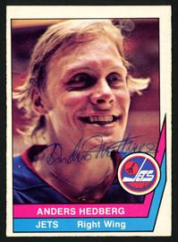 Anders Hedberg Autographed 1977-78 WHA O-Pee-Chee Card #3 Winnipeg Jets SKU #151335