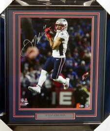 Julian Edelman Autographed Framed 16x20 Photo New England Patriots Beckett BAS Stock #151425
