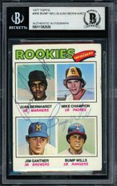 Juan Bernhardt & Bump Wills Autographed 1977 Topps Rookie Card #494 Beckett BAS #11392526