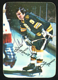 "John ""Johnny"" Bucyk Autographed 1976-77 Topps Glossy Card #14 Boston Bruins SKU #151893"