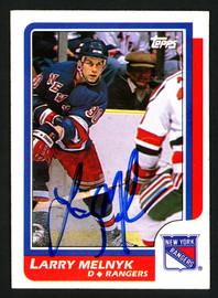 Larry Melnyk Autographed 1986-87 Topps Card #95 New York Rangers SKU #151991