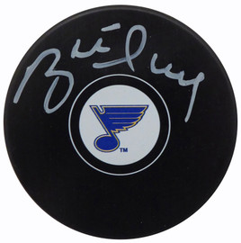 Brett Hull Autographed Official St. Louis Blues Logo Puck In White Beckett BAS Stock #152346