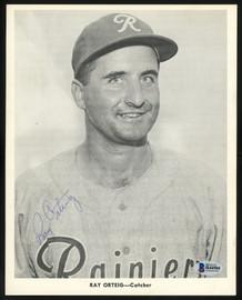 Ray Orteig Autographed 1956-59 Seattle Rainiers Popcorn 8x10 Premium Card 1956-59 Seattle Rainiers Beckett BAS #H44504
