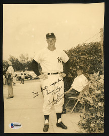 """Andy Carey Autographed 7.5x9.5 Photo New York Yankees """"My Best Regards, Sincerely"""" Vintage Beckett BAS #H44465"""