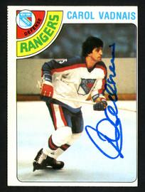 Carol Vadnais Autographed 1978-79 Topps Card #85 New York Rangers SKU #153524