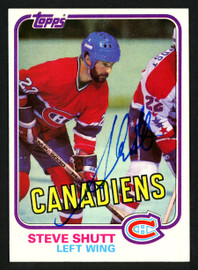 Steve Shutt Autographed 1981-82 Topps Card #34 Montreal Canadiens SKU #153583