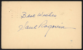 """Saul Rogovin Autographed 3.5x5.5 1952 Government Postcard Detroit Tigers """"Best Wishes"""" SKU #153922"""