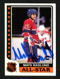 Mats Naslund Autographed 1986-87 Topps Sticker Card #8 Montreal Canadiens SKU #154122