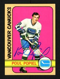 Poul Popiel Autographed 1972-73 Topps Card #142 Vancouver Canucks SKU #154190
