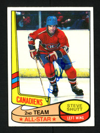 Steve Shutt Autographed 1980-81 Topps Card #89 Montreal Canadiens SKU #154256