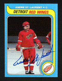Andre St. Laurent Autographed 1979-80 Topps Card #73 Detroit Red Wings SKU #154304